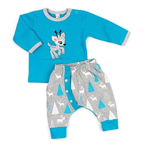 Koala Baby Baby Set Shirt + Hose blau grau | Motiv: Reh | Babyset 2 Teile mit Rehkitz für Neugeborene & Kleinkinder | Größe: 6 Monate (68)