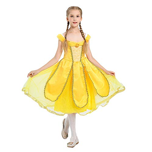 Belle Prinzessin Kostüm Deluxe - BaronHong Mädchen Cosplay Prinzessin Belle Kostüm Fancy Party Deluxe Beauty Dress Up (gelb, L)