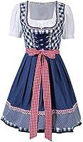 KOJOOIN Trachten Damen Dirndl Set - Midi Trachtenkleid Kurzarm Dirndlbluse für Oktoberfest - DREI Teilig: Kleid, Bluse, Schürze