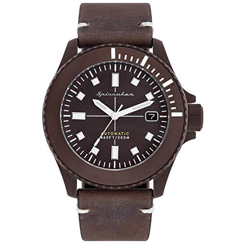 SPINNAKER Men's Spence 41.5mm Brown Leather Band Steel Case Automatic Analog Watch SP-5063-02