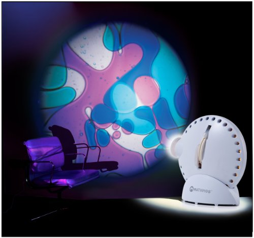 Mathmos Space Projector in White with Lava Lamp Effect Wheel - Violet / Blue Test