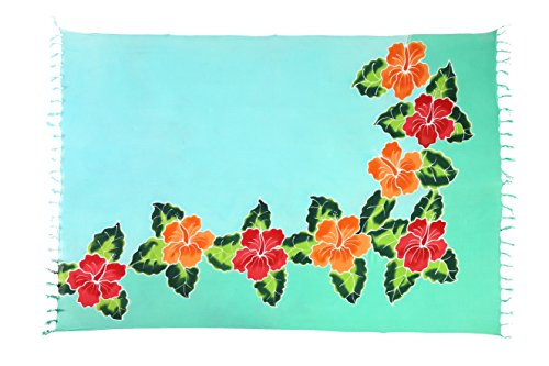 Costa Rica Kleid (Sarong Pareo Wickelrock Strandtuch Tuch Schal Wickelkleid Strandkleid Blickdicht Costa Rica - Türkis Petrol Blume)
