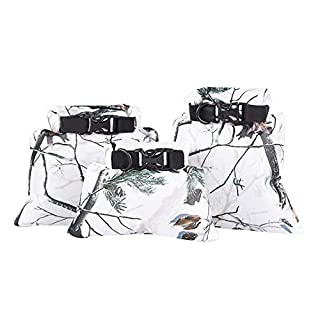 Sobotoo 3pcs 1.5L+2.5L+3.5L Waterproof Dry Bag Storage Pouch Bag for Camping Boating Kayaking Rafting Fishing Canoeing (Snow camouflage)