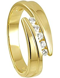 Diamond Line Damen - Ring 375er Gold 5 Diamanten ca. 0,15 ct.