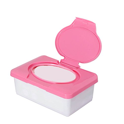 Caja para toallitas de bebé, dispensador de toallitas de plástico, organizador de pañales rosa rosa