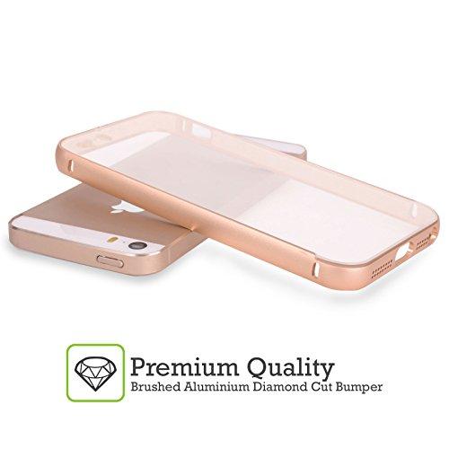 Head Case Designs Tropisch Fab Flamingo Gold Rahmen Hülle mit Bumper aus Aluminium für Apple iPhone 5 / 5s / SE Lotusteich