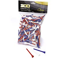 Second Chance 200 Wooden 7cm Golf Tees (Red, Blue and White)