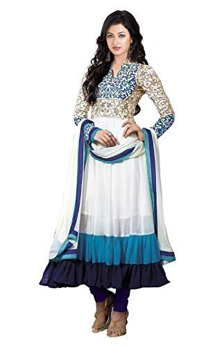 Clickedia Women Faux Georgette Salwar Suit Dress Material (Sauve 2122 _White _Free Size)