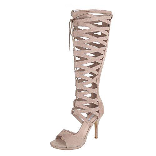 High Heel Sandaletten Damenschuhe Plateau Pfennig-/Stilettoabsatz High Heels Reißverschluss Ital-Design Sandalen / Sandaletten Hellbraun