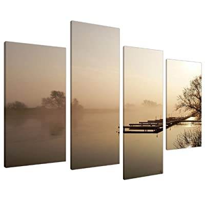 Large Brown Beige Sepia Landscape Canvas Wall Art 130cm Pictures 4117 - inexpensive UK canvas shop.