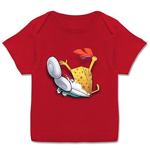 Up to Date Baby - Spülschwamm - Wasserrutsche - 56-62 (2-3 Monate) - Rot - E110B - Kurzarm Baby-Shirt für Jungen und Mädchen in verschiedenen Farben