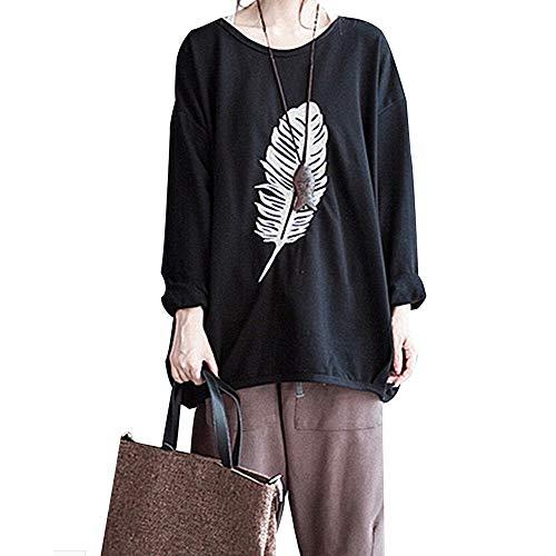 ADESHOP Kapuzenpullover für Damen, Herbst langärmelig, mit Federn Bedruckt, Pullover Casual Bluse Tops, Schwarz, XXL