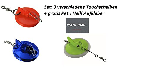 Jenzi Set: 3 Verschiedene Tauchscheiben, Disc Diver(45, 65 & 87mm) + Gratis Petri Heil! Aufkleber