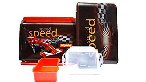 Nayasa Superplast Notebook Speed Design Stainless Steel Lunch Box, Red