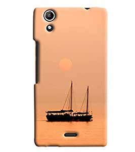 Blue Throat Boat Drawing Hard Plastic Printed Back Cover/Case For Micromax Selfie 2