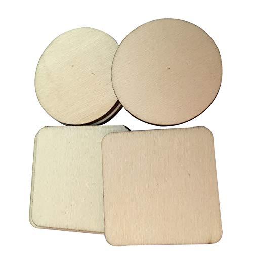 SUPVOX 100PCS Holz Scheiben Runden und quadratischen Holzschmuck für Craft Party Hochzeit Home Decor - 4x4cm