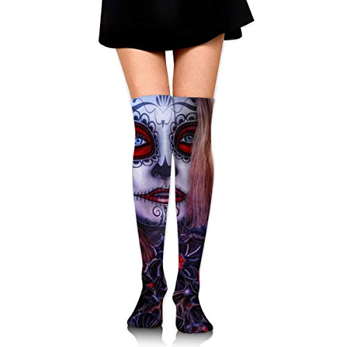 HRTSHRTE Halloween Girl All Saints Gothic Eyes Witch Mystery Ankle Stockings Over The Knee Sexy Womens Sports Athletic Soccer Socks