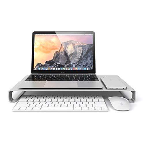 Eplze Monitorständer Aluminium Legierung - Laptop Riser Regal - IMac MacBook Computer Desktop Bildschirmständer, Universal Aluminum Unibody Stand Monitor/Laptop / iMac/PC. (Groß: 49 * 21 * 5)