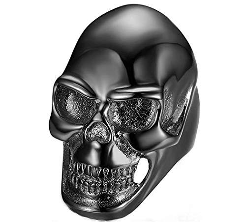 XiDDEE Stainless Steel Hip Hop Holloween Grinning Big Skull Head Shape Cool Rock Rings for Mens