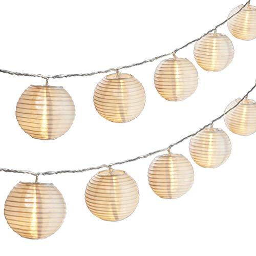 Gresonic 20er LED Lichterkette Lampion/Laternen Deko für Garten Weihnachten Party Hochzeit Innen und Außen mit dem Stecker (Warmweiss, Solar)