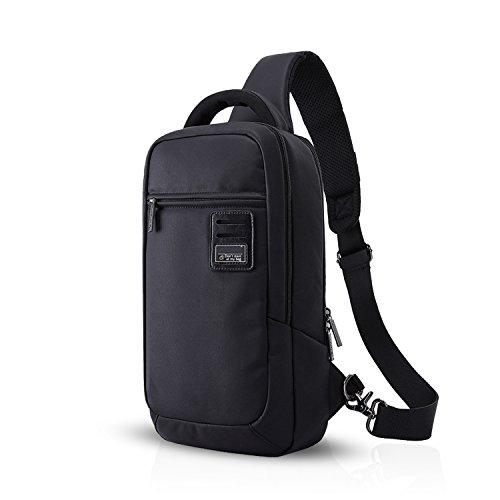 FANDARE Mode Sling Bag Rucksack Umhängetasche Messenger Bag Hiking Bag Daypack Crossbody Bag Hohe Kapazität Polyester Schwarz Schwarz