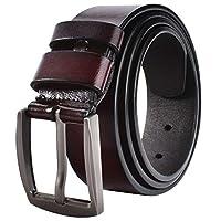JY_shop Men's Belt, Men's Reversible Classic Dress Belt Top Bulliant Leather Black Rotating Buckle with Gift Box-Brown