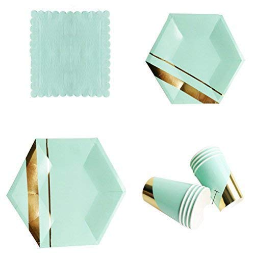 l Geburtstagsfeier Geschirr Packung Papier Teller Becher Servietten Gold Foil Edge Leuchtende Farben 8-Pack (32-tgl.) - Mintgrün, 9 inch ()