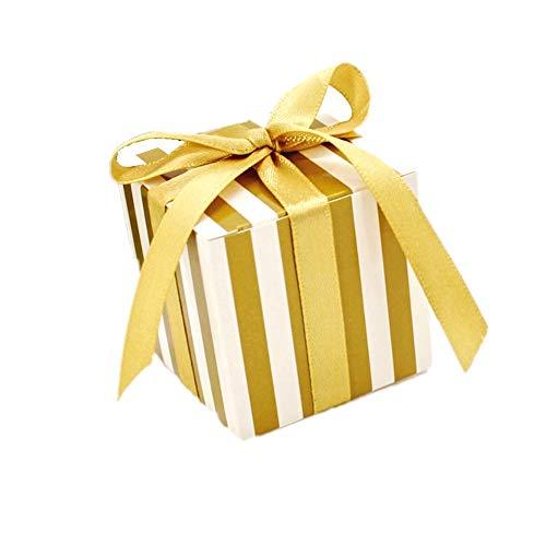 JZK® 50 x Raya de oro, papel caja de regalo caramelos bombones, perfecto para partido fiesta cumpleaños boda Santa comunión Navidad, u otras diversas ocasiones