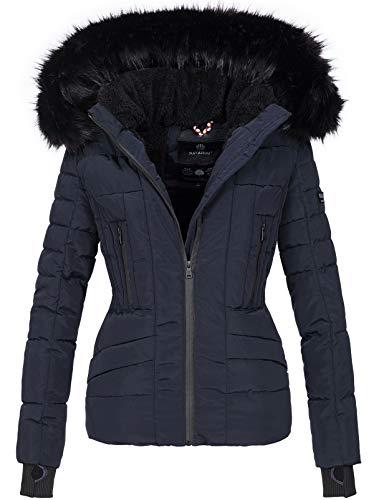 Navahoo Damen Winter Jacke warm gefüttert Teddyfell Stepp Winterjacke B361 [B361-Navy-Gr.S]