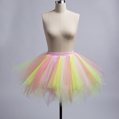 Retro Petticoat Tutu Damenrock Tüllrock 50er Kurz Ballet Tanzkleid Unterkleid Cosplay Crinoline Petticoat für Rockabilly Kleid I