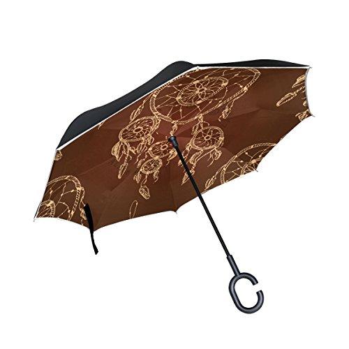 jstel doble capa puede diseño de Atrapasueños paraguas coches Reverse resistente al viento lluvia paraguas para coche al aire libre con asa en forma de C