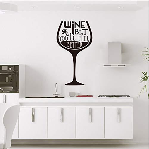wmyzfs Aufkleber Gourmet Weinglas Vinyl Wandaufkleber Wandapplikation Wandbild Wandkunst Küchentapete Wohnaccessoires 30x60cm -