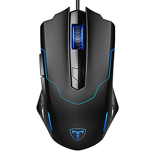 Holife Gaming Maus mit Kabel, Gamer Maus Optische PC Maus mit 4 Einstellbare DPI/6 Tasten/ 1.6m USB Kabel/ Ergonomisches Design für Game & Daily, Windows XP/Visa/7/8/10 (Schwarz)