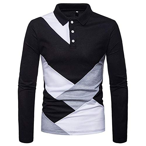 NISHIPANGZI Männer lässig Tops Langarm Pullover Farbe Block Slim Fit Polo Shirt Fashion Casual Polo Langarm, L - Farbe-block-polo-golf-shirt
