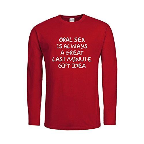 dress-puntos Herren Langarm T-Shirt Oral Sex Is Always a Great Last Minute Gift Idea 20drpt15-mtls00495-50 Textil deepred / Motiv weiss Gr. (50 Last Minute Kostüme)