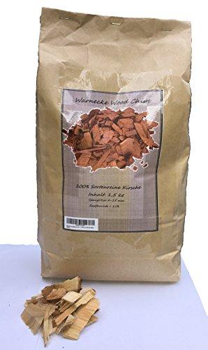 Brennholz Handel Warnecke Wood Chips Kirsche Cherry Wood ca. 1,3 kg / 7 Liter in der Tüte Räucherchips für Grill und Smoker BBQ