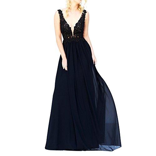 Charmant Damen Elegant Sexy Tief V-ausschnitt Spitze Chiffon Abendkleider Partykleider Abschlussballkleider Lang Schwarz