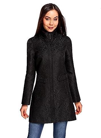 oodji Ultra Femme Manteau Coupe Droite en Tissu Texturé, Noir, FR 42 / L
