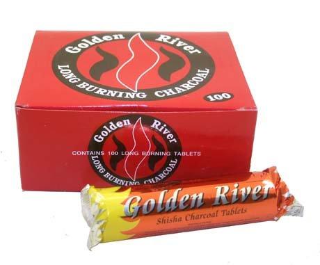 GOLDEN RIVER - Carbón para pipa de agua (caja con 100 piezas de 33 mm)