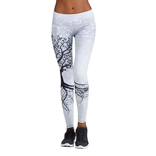 Leggings damen Kolylong® Frauen Elegant Hohe Taille Yoga Hosen Muster Freizeit Stretchy Fitness Leggings Training Sport Hosen Jogginghose Slim Bleistifthose Pants Sportswear (Weiß, L)