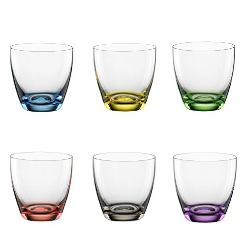"""Bohemia Cristal 093 006 165 6er-Set Becher """"Viva Colori"""" ca. 300 ml aus Kristallglas mit farbig dekorieren Boden in  blau, gelb, grün, rot, rauchgrau, violett"""