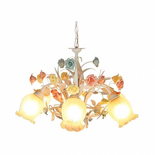 Kronleuchter-Kronleuchter, rustikale Stil schmiedeeiserne Blume Lampe, Esszimmer Wohnzimmer kleines Schlafzimmer Kronleuchter, romantische Farbe koreanischen Drei-Kopf-Kronleuchter,5W,LED-Glühbirne (Rustikale Schmiedeeiserne Lampen)