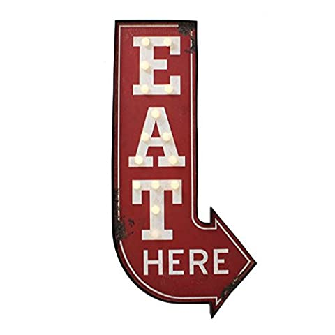 Wall Plaque Retro 'Eat Here' Light Up Metal Sign