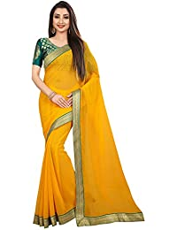 Anand Sarees Georgette with Blouse Piece Saree (1468_3_Yellow_One Size)