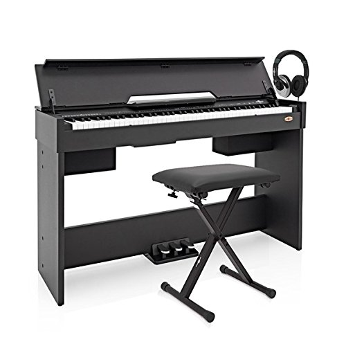 Piano Digital DP-7 Compacto de Gear4music + Accesorios - Negro