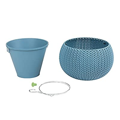 Keter Cozy Blumentopf Hängeampel inkl. Innentopf Strick-Optik Übertopf aus Kunststoff blau S von KETER - Du und dein Garten