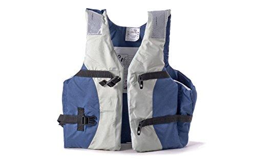 wellenshop Schwimmweste Navy Blau Grau Auftrieb 50 N ab 40kg Brustumfang 80-110 cm ISO 12402-5 mit Schnellverschlussschnallen Reflektorstreifen