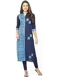 SareeShop Women Stitched Cotton Kurtis (L-Large && Blue)