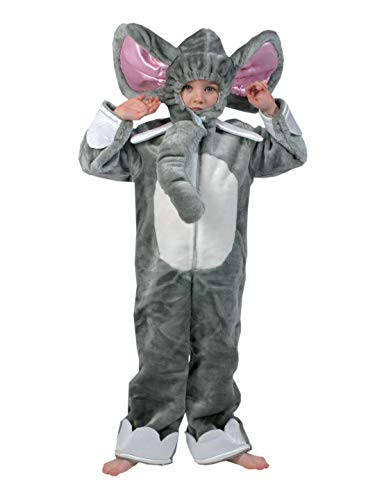 Luxuspiraten - Kinder Jungen Mädchen Kostüm Plüsch Elefant Elephant Fell Einteiler Onesie Overall Jumpsuit, perfekt für Karneval, Fasching und Fastnacht, 116, Grau