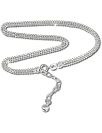 SilberDream Fußkette trhree Zeilen Kugelkette, 925Sterling Silber 24cm SDF012